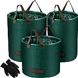 3 Packungen Wiederverwendbare Gartensäcke Garten Abfallsäcke Hof Blatt Taschen mit Gartenhandschuhen Terrasse Abfallbehälter Müllcontainer Pflanzenausschnitt Beutel, 3 Größe