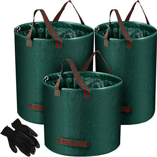 3 Paquets Sacs de Déchets de Jardin Réutilisables Sacs de Feuilles de Jardin avec Gants de Jardinage Contenant de Déchets de Patio Poubelles Sac de Coupures de Plantes, 3 Tailles