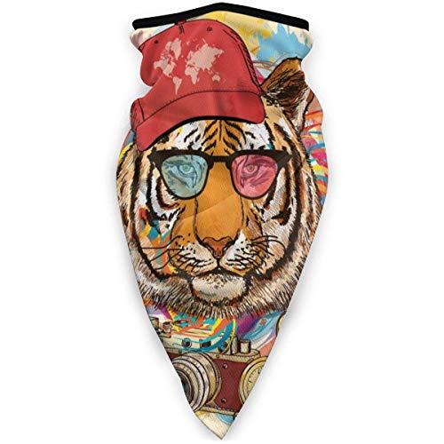 WCUTE Hpister Rapper Tiger Mit Sonnenbrille Winddichte Kopfbedeckung Half Face Cover Magisches Stirnband Elastische Maske Bandana Sportmasken