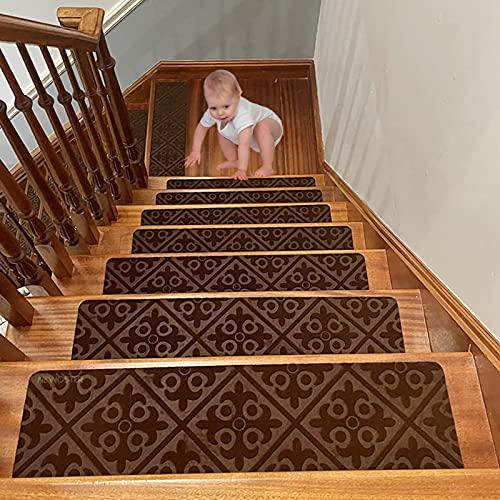 NEWOSTER, Set di 7 tappetini Antiscivolo per Scale da 70 cm x 20 cm, in Legno, Antiscivolo, per Interni, di Sicurezza autoadesivi, per Scale Antiscivolo, Colore: Marrone