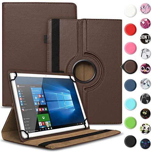 UC-Express Tablet Schutzhülle kompatibel für Archos 70 Xenon - Oxygen Tasche aus hochwertigem Kunstleder Hülle Standfunktion 360° Drehbar Cover Universal Case, Farben:Braun