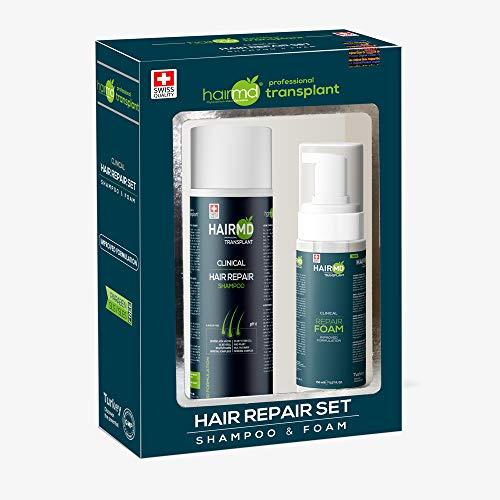HairMD-Transplant Clinical Hair Repair Set-Prevent Hair Loss & Promote New Hair Growth-For All Hair Types-Shampoo 250 ml & Foam 150 ml