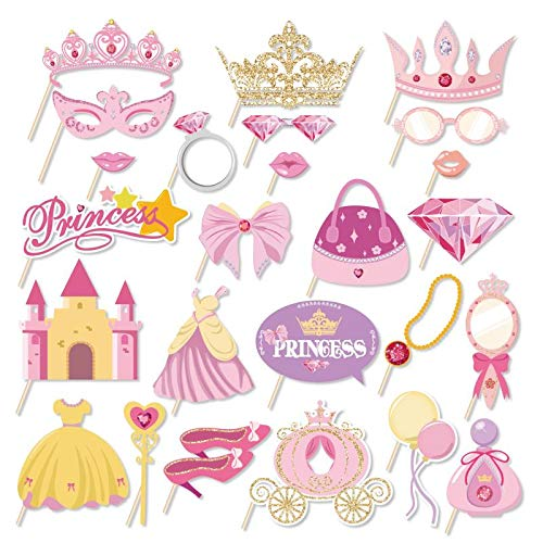 Kristin Paradise 25Pcs Princess Photo Booth Props with Stick, Cinderella Theme Selfie Props, Little Royal Queen Birthday Party Supplies, Fairytale Photography Backdrop Decorations