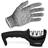 Kitchen Knife Sharpener, 3 Stage Knife Sharpening Tool Restore Polish Steel And Ceramic Knives, Cut Resistant Glove Included