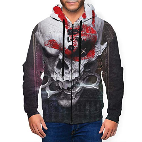DemiWall Five Finger Death Punch Men's Fashion 3D Printing Full Zip Jersey Hoodie XXL Black