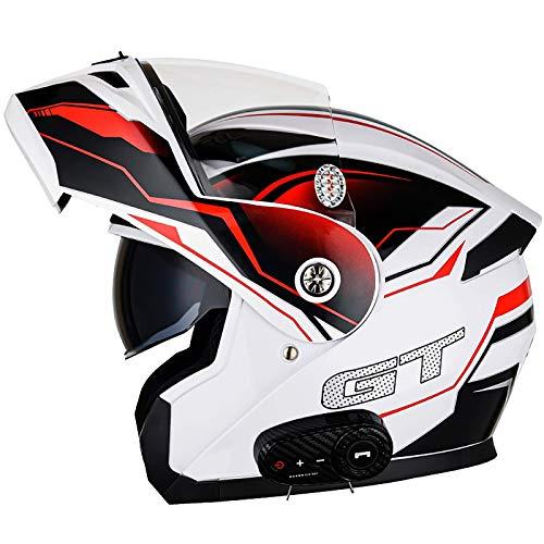 ACEMIC Casco de Motocicleta Bluetooth Modular, abatible hacia Arriba, Frontal, Casco de Motocicleta, Casco Integral, Ligero con Visera Solar Doble, Cascos de Motocicleta aprobados por el Dot para a
