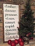 Free Brand Letreros de baño Wall Art Sign Placa dasher.dancer.prancer.vixen.comet.cupid.donner.blitzen.rudolph. temporada festiva. decoración de Navidad. placa de madera rústica