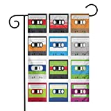 Eastlif Garden Flag Années 90 Collection de Cassettes Audio en Plastique rétro Old Technology Entertainment Thème Facile à Installer Vert Bleu
