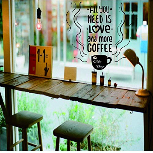 Coffe Cup Window Glass Logo Decals Tea Time Store Pegatinas De Pared Coffee Shop Sign Window Art Mural Removable Kitchen Decor 57 * 57Cm