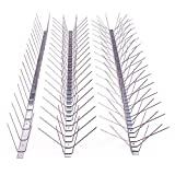 Dura-Spike Stainless Steel Bird Spikes Bird Deterrent - Pigeon Repellent Kit - Bird Repellent Metal Pins Strips for Ledge, Roof, Pipe - Adhesive Included - Wide (5 in) 6 Ft. Length
