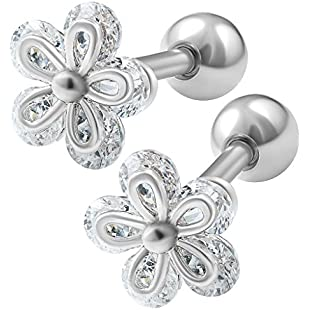 bodyjewelrytrend 2pcs 16g 1/4 Cartilage Earring Stud Flower Barbell Forward Heilix Tragus Lobe Auricle Cartilage Bar Surgical Steel - Steel