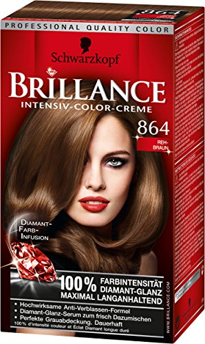 Brillance Intensiv-Color-Creme, 864 Rehbraun, 3er Pack (3 x 1 Stück)