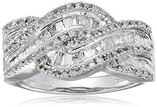 10K White Gold Diamond Twist Band Ring (1/2 cttw), Size 6