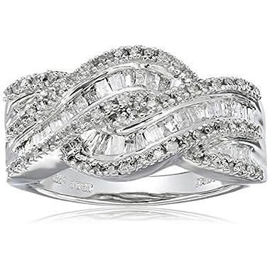 10k White Gold and Diamond Twist Ring (1/2 cttw,...