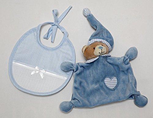 Bär Schmusetuch mit Lätzchen in Aida Color hellblau
