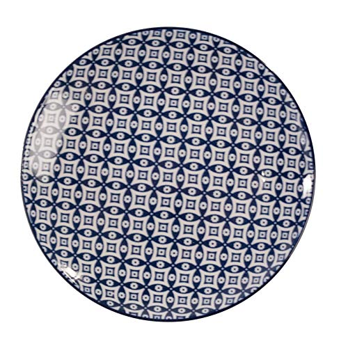 Vagabond Vintage, Set of Four Small Round Plates with Blue and White Decorations in Moroccan Pattern