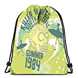 Drawstring Backpack Bags Sports Cinch Tribal Tattoo Skull And Surfboard Art String Backpack Bulk Storage Bags For School Gym