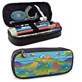 Outer Space Leather Carrying Case, for Kids Scary Monster in UFO on Planet Solar System Galaxy Funky Background for Student Office College Middle School High School, Green Blue