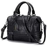 joseko donna borse a mano, borsa tote borse a spalla da donna in pelle cuoio in pu retro borsa a tracolla crossbody borsa nero