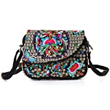 Embroidered Women Crossbody Bag, Vintage Flip Messenger Bags for Basics