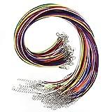 TUPARKA 60 Pz Cordino per collana 2mm Cordone per collana cerato con catenina per fermaglio per bracciale fai-da-te Creazione gioielli, 10 colori