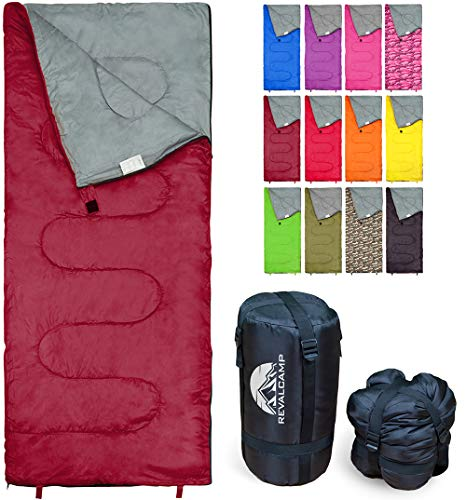 Sleeping Bag by RevalCamp - Bordeaux - Indoor & Outdoor Use. Great for Kids, Boys, Girls, Teens & Adults. Ultralight and Compact Bags are Perfect for Hiking, Backpacking & Camping