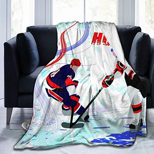 Manta de Tiro Personalizada,Dos Jugadores de Hockey sobre Hielo en Estilo de Dibujos Animados sobre Fondo de Pista de Patinaje Abstracto Grunge,Manta de Felpa Suave para sofá,Viaje,Manta 50'X60'