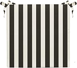 "RSH Décor Indoor/Outdoor Black & White Cabana Stripe 2"" Foam Seat Cushion with Ties for Dining/Patio Chairs - Choose Size and Choose Color"