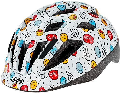 ABUS Smooty 2.0 Kinderhelm - Robuster Fahrradhelm für Kleinkinder im Beifahrersitz - für Mädchen und Jungen - 81852 - Weiß mit Smileys, Größe S