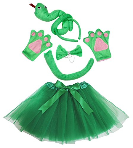 Petitebelle Green Snake Headband Bowtie Tail Gloves Tutu 5pc Girl Costume (Green)