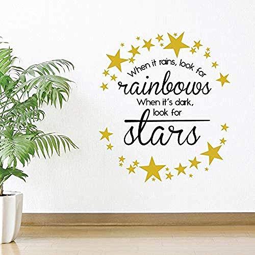 Cuando llueve Busque Rainbows Vinyl Starsstars Positividad Sala de estar Decoración del hogar 61X53cm cita de arte Etiqueta de la pared,calcomanía extraíble,decoración del hogar,cartel de pared imperm