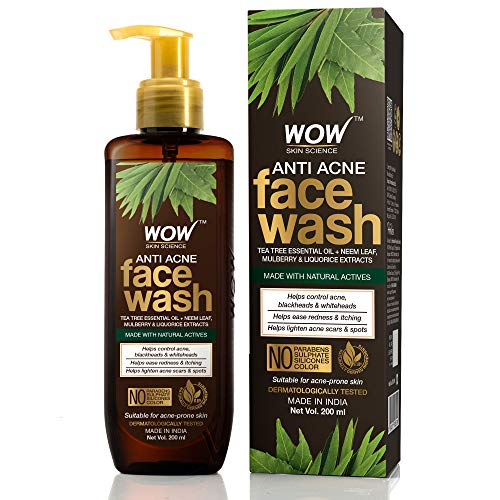 WOW Skin Science Anti Acne Face Wash – Oil Free – No Parabens, Sulphate, Silicones & Color (200mL)