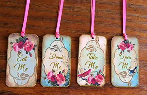 Alice in Wonderland, wedding, shower eat me, drink me, take me, open me party tags