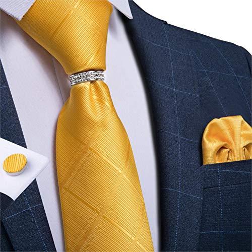 WOXHY Cravate Homme Cravate de Mariage en Soie rayée Bleu Rouge pour Hommes Boutons de Manchette Hanky Set Fashion Suit Bussiness Party