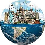 N+A Puzzles para Adultos 1000 Piezas Puzzle Redondo Paisaje Puzzle Sitios del Patrimonio Mundial Puzzle para Niños Descompresión y Regalo