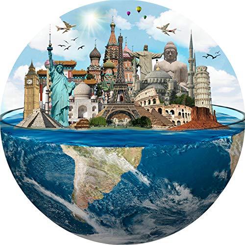 Cuteefun Puzzle per Adulti 1000 Pezzi Puzzle Rotondo Paesaggio Puzzle Siti del Patrimonio Mondiale Puzzle per Bambini Decompressione e Regalo