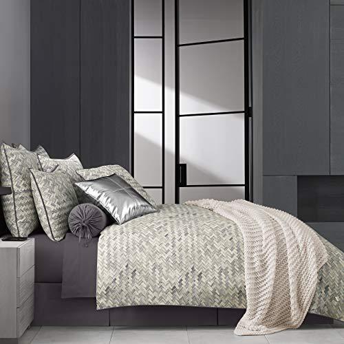 Five Queens Court Haven Basket Weave Chevron 100% Twill Cotton 4 Piece Comforter Set, Lavender, King 110x96