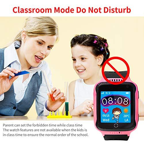 Kinder Smartwatch Telefon, Handy Uhr für Kids, mit Anti-verlorener GPS Ortung Tracker, Rufen, SOS, Voice Chat, Pedometer, Wecker, kinderuhr für Mädchen oder Jungen (Rosa)