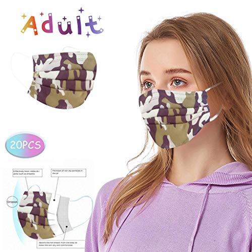 Einmal-Mundschutz für Damen Herren, Staubs-chutz Atmungsaktive Drucken Mundbedeckung, Erwachsene, Bandana Sommerschal (20 Stück)