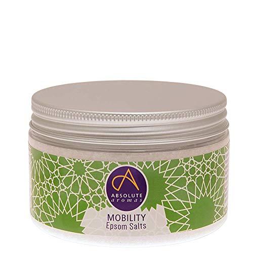 Absolute Aromas Sels de Bain Epsom Mobility Mobilité 300 g - Sulfate de Magnésium infusé d'Huiles Essentielles 100% Pures - Huiles de Menthe Poivrée, de Romarin et d'Eucalyptus