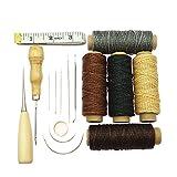 Ele Eleoption - Kit per cucito a mano da 16 pezzi, con punteruolo di foratura a filo cerato, aghi e ditale per la riparazione della pelle