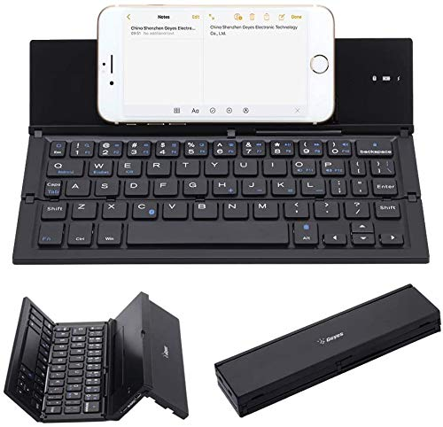 Bluetooth 3.0 Folding Keyboard Portable Travel Foldable Keyboard for iPhone Xs max/x/8/7/6 Plus/7/6s Plus/6/iPad 2018/2019 9.7/Air 2 /Pro 9.7/iPad Mini 4 and Samsung Android Tablet Smart Phone