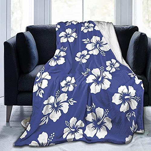 Manta de Felpa Suave Cama Flores de Hibisco Hawaiano Manta Gruesa y Esponjosa Microfibra, Suave, Caliente, Transpirable para Hogar Sofá , Oficina, Viaje