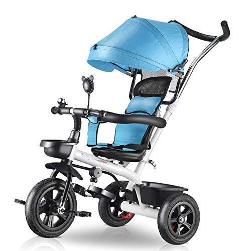XHSLC Trikes- Baby driewieler, 4-in-1 kinderwagen, leren fiets met duwhandvat, verstelbare luifel, blauw/bruin/rood (kleur: bruin)
