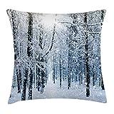 ABAKUHAUS Invierno Funda para Almohada, Bosque Cubierto de Nieve, Decorativo, Estampado en Ambos Lados, 50 x 50 cm, Negro Blanco Pizarra Azul
