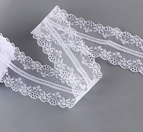 ABSOFINE Spitzenbordüre Vintage Spitzenband Weiss Beige Vintage für Hochzeit Tischdeko Basteln Geschenkband (30M)