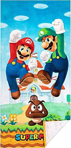 Super Mario Bros Toalla de playa con dibujos animados Mario Luigi para niños y niñas, superabsorbente, suave y cómoda, adecuada para viajes deportivos (Mario3, 100 cm x 180 cm)