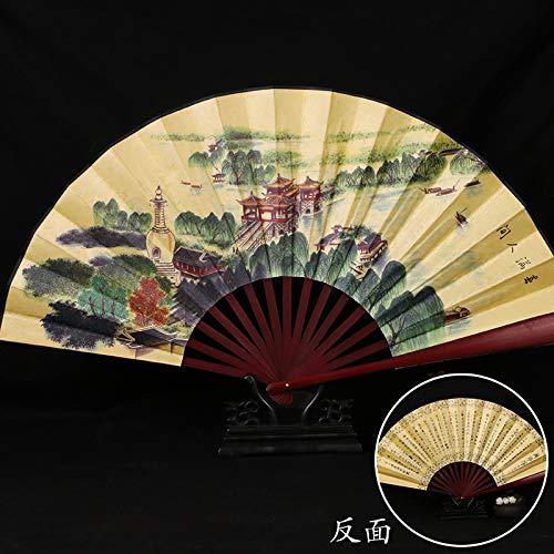MWYMSS vouwventilator, Chinese klassieke inkt wilg boom paviljoen uitzicht patroon bamboe ventilator gele vouwventilator kantoor woonkamer decoratie bureaublad decoratie bruiloft partij dames cadeau