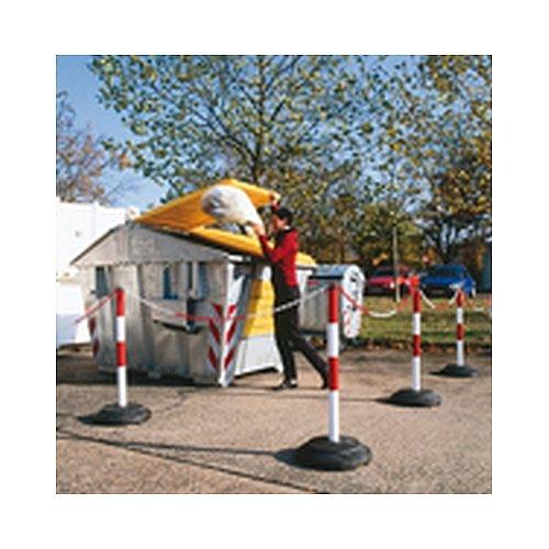 Kettingstandaard zware kettingstandaard, rood/wit, met ooglaag, ronde gerecyclede voet, palen: thermisch verzinkt, diameter Palen: 6,0 cm, totale hoogte: 1 m.