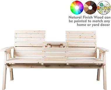 kdgarden Cedar/Fir Log Wood Patio Garden Bench with Foldable Table, Outdoor Wooden Porch 3-Seat Bench Chair for Garden Balcon